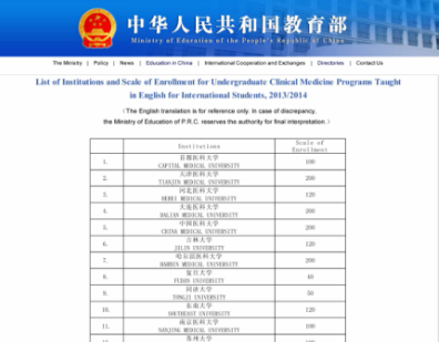The latest list of Medical Universities Approved by the MOE – CHINA